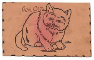 Unused Vintage Leather Postcard Our Cat UDB Undivided Back