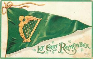 Ellen H Clapsaddle~St Patrick~Gold Lady Harp on Green Pennant Flag~Shamrocks~Emb