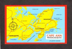 MA Cape Ann Map Rockport Gloucester Manchester Mass Massachusetts Postcard