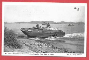 Naval Ships - #1222 - Amphibious Truck Bringing Supplies from Ship to Shore