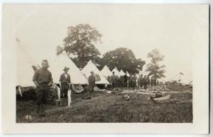 RPPC, Soldiers Standing by Tents
