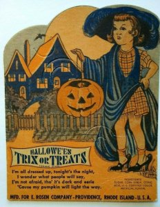 Halloween Girl Diecut Lollypop Candy Sucker Card E Rosen Original Unused Vintage