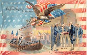 Colonial Post Card Old Vintage Antique Postcard Reception of President Washin...