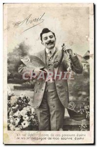 Old Postcard by getting rid me of these fish Man April