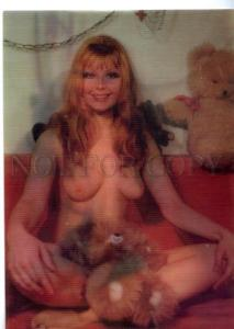 154606 NUDE Woman w/ Teddy Bear Toy old 3D Stereo PHOTO