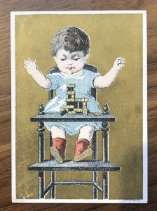 Baby Playing DOMINOS  VICTORIAN Trade Card 1880's HIGH CHAIR
