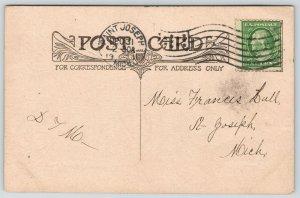 PF Volland~While Days Are Fleet~Powder & Navy Blue Art Nouveau~Parchment 1911