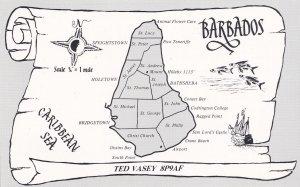 Barbados Map QSL Caribbean Sea Radio Contact Card