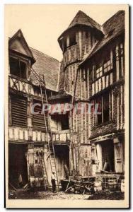 Old Postcard Caudebec-en-Caux Old house high street
