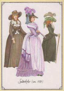 Spatrokoko 1780 Tudor Medieval Ladies Fashion Costume German Germany Postcard