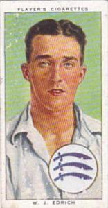 Player Cigarette Card Cricketers 1938 No 7 W J Edrich Middlesex