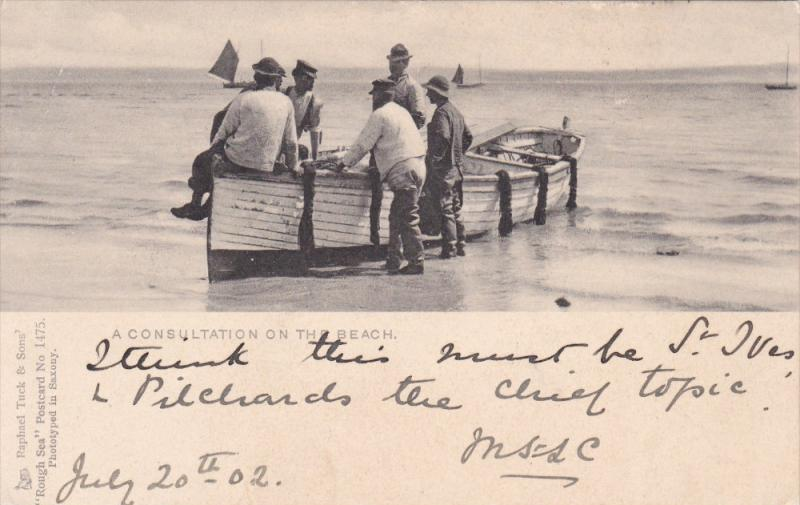 Fishing ; A Consulation on the Beach , PU-1902 ; TUCK