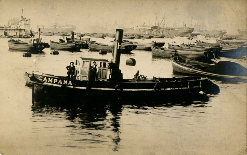 Wessel Duval & Co. Tug Campana (Bell), Valparaiso, Chile. 1913. RPPC