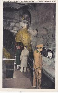Telephoning At Head Of Underground Lake, HOWE CAVERNS, New York, 1910-1920s