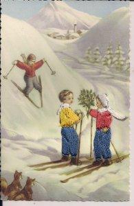 EMBROIDERED Postcard, Spain, Children Skiing, Silk, 1930's