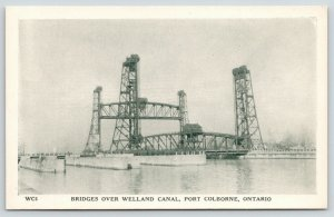 Port Colborne Ontario Canada~Bridges over Welland Canal~1940s B&W Litho Postcard