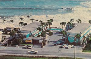 Aerial View, Aqua Terrace Motel, Swimming Pool, Beach Shore, Classic Cars, HW...