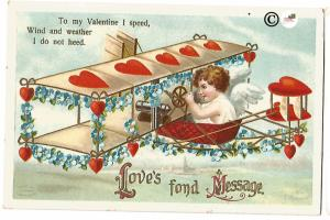 Cupid flying Heart covered Airplane trimmed with Forget Me Nots Valentine's Day