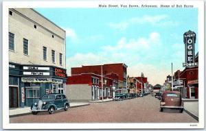 Van Buren, Arkansas Postcard Main Street Scene Home of Bob Burns Linen c1940s