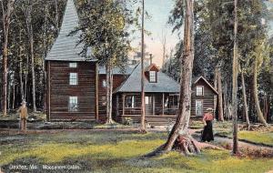 Dexter Maine~Rustic Moosehorn Log Cabin~Man w/Cane 1912