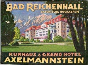 Germany Bad Reichenhall Grand Hotel Axelmannstein Vintage Luggage Label sk4872