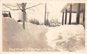C6/ Fairbanks Alaska AK Real Photo RPPC Postcard c1930s Front Street Winter Snow