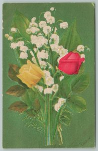 Flowers Greetings~Lily-of-the-Valley & Bluebells~c1910 Embossed Postcard
