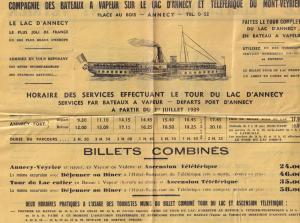 Mont Veyreir WW2 1939 French Boat Timetable Ship Guide