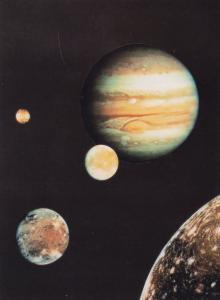 Jupiter & Four Moon NASA Display London Planetarium 1970s Astronomy Postcard
