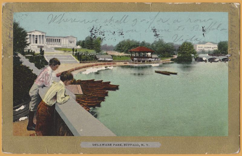 Buffalo, N.Y., Delaware Park, Children checking out the boats - 1905