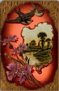 Postcard Greeting Bird Flowers Rainbow Gold Embossed VINTAGE PC