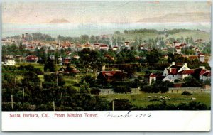 1900s Santa Barbara, CA Postcard Bird's-Eye Panorama View From Mission Tower
