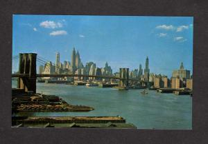 NY Manhattan Skyline Brooklyn Bridge New York City Postcard NYC PC