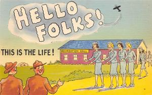 Military Comic Postcard, Old Vintage Antique Post Card Hello Folks, Series L ...