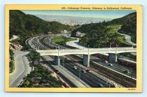 Postcard CA Hollywood Vintage Linen View Cahuenga Freeway R64