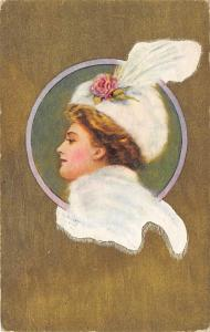 Woman wearing a white hat with a white feather Unused
