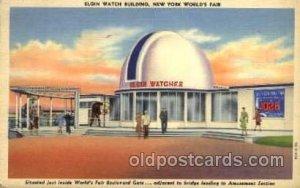 Elgin Watch Bldg. New York Worlds Fair 1939 Exhibition Unused