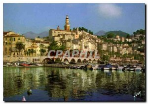 Modern Postcard The French Riviera Menton The Port and the Old Town