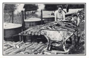 Nostalgia Postcard Land Girls at a Charcoal Plant,Cardiff c1949 Repro Card #N485