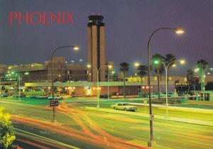 PHOENIX, Arizona, 1950-1970's; Sky Harbor International Airport, Night Scene