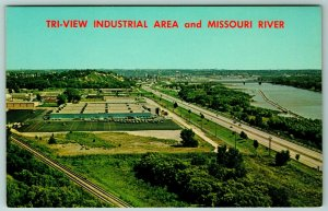 Sioux City IowaBirdseye View of Industrial Park on the Missouri River~Hwy c1965