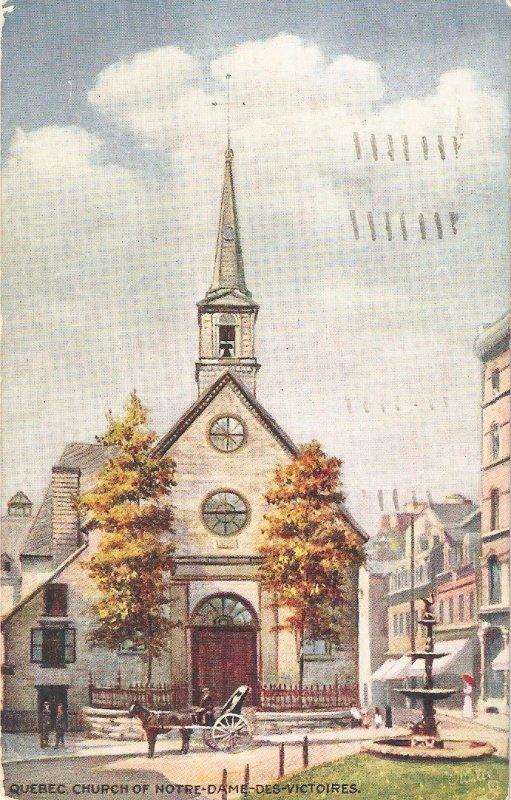 Quebec. Curch of Notre Dame. Cleche. Horse Tuck Oilette Quebec -ser.PC # 2558