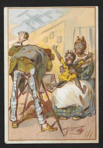 VICTORIAN TRADE CARD Brigham Clothiers Hatters Furnishings