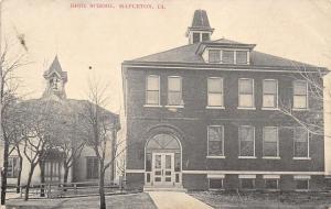 Mapleton Iowa~High School~Smaller School House With Bell~1908 Sepia Postcard