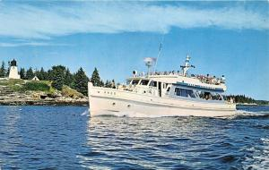 Boothbay Harbor Maine~Ecursion Boat Argo~People on Both Decks~c1950s Postcard