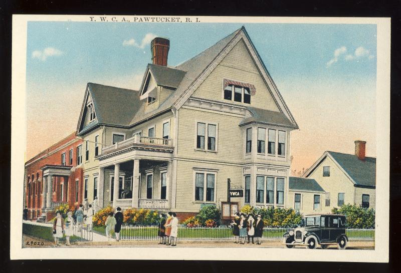 Pawtucket, Rhode Island/RI Postcard, YWCA, Old Car, 1920's?