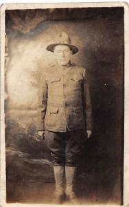 C66/ Patriotic Postcard c1920 Army Soldier Uniform Real Photo RPPC 14