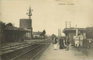 france, CONLIE, La Gare, Station (1910s) Postcard