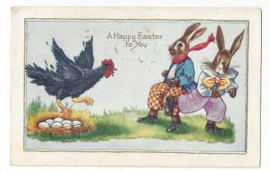 Dressed Rabbits Easter Postcard Hen Protecting Eggs Whitney