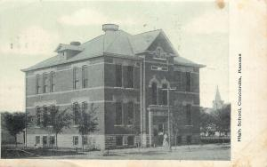 Concordia KS Victorian Lady Leaves High School~New Trees~Church Behind~1908 pc